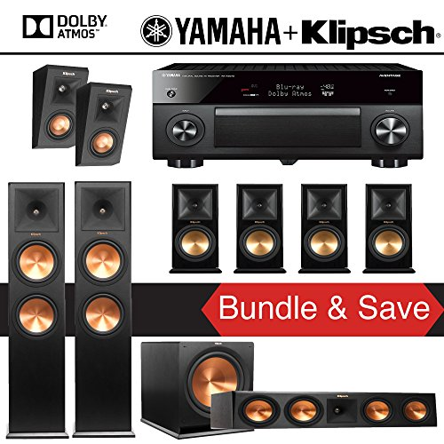 Klipsch RP-280F 7.1.2-Ch Reference Premiere Dolby Atmos Home Theater System with Yamaha AVENTAGE RX-A2070BL 9.2-Channel Network A/V Receiver by Klipsch