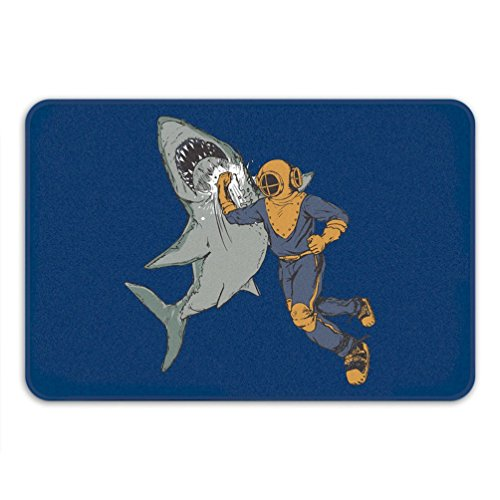 Scuba Foam - Diver Punching Shark Bath Mat Anti Slip Memory Foam Blue Rug Scuba Diving Gift