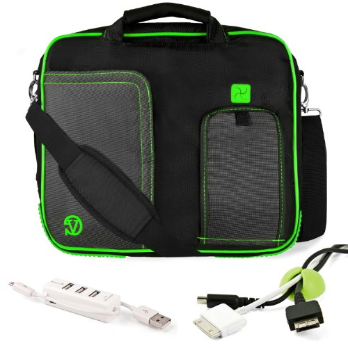 Pindar Water-Resistant Durable Nylon Protective Messenger Shoulder Bag [GREEN/BLACK] For Acer Aspire TimelineX 14 inch Notebook Laptop Computer + Green Cable Organizer + 3 Port USB HUB w/ Micro USB