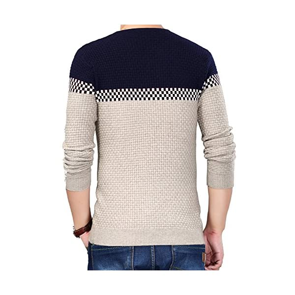 S.FLAVOR Men's Slim Fitted V-Neck Knitted Pullover Sweater