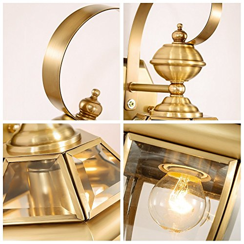 13.78 Inch/35cm high wall lamp Modern minimalist fashion E27 light bulb 1 31-40w copper Glass lampshade Bar Bedroom Living room outdoor (Gold) by Lizichun (Image #7)'