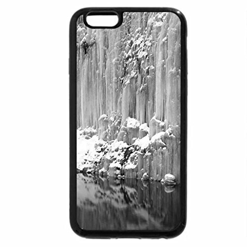 iPhone 6S Plus Case, iPhone 6 Plus Case (Black & White) - icicles down a cliff into a pond