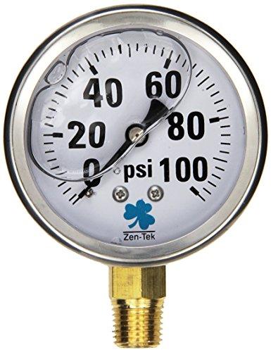 100 Psi Water (Zenport LPG100 Zen-Tek Glycerin Liquid Filled Pressure Gauge, 100 PSI)