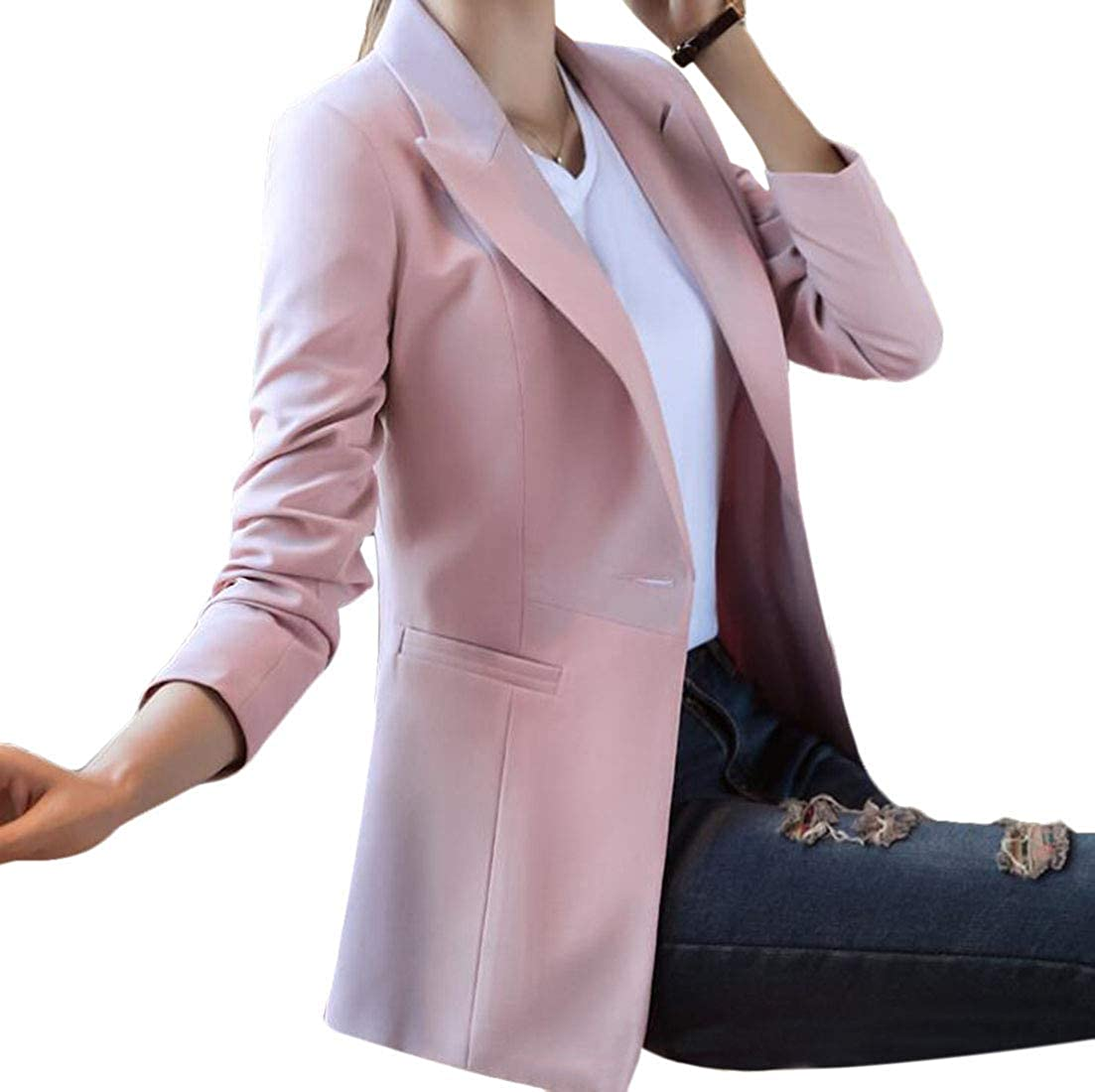Yaolor Women Slim Fit Work Office Blazers One Button Suit Coat