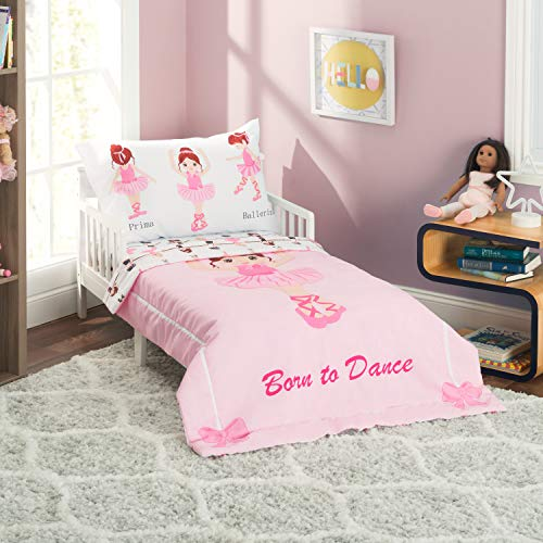 EVERYDAY KIDS 4 Piece Toddler Bedding Set -Born to Dance Ballerina- Includes Comforter, Flat Sheet, Fitted Sheet and Reversible Pillowcase