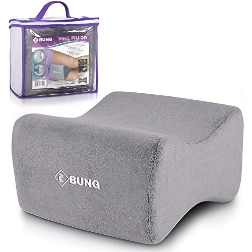 Ebung Knee Pillow & Leg Pillow for Hip, Back, Leg, Knee Pain Relief - Ideal for Side Sleepers, Pregnancy and Right Spine Alignment -Memory Foam Wedge Contour with Washable Cover