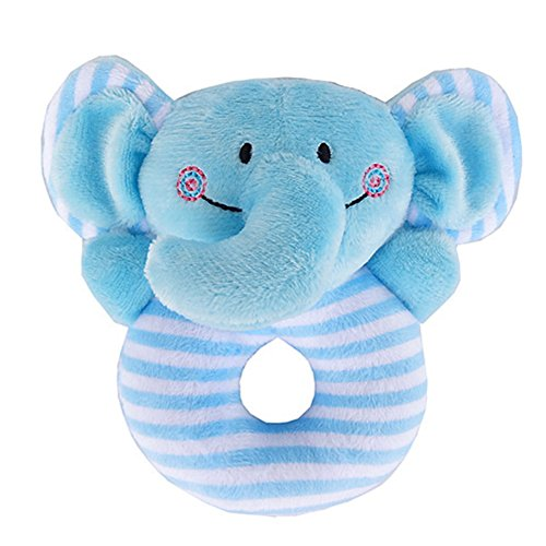 Gogoboi Fluff Animal Hand Rattle Toys for Baby 0-1 Years (Blue elephant)