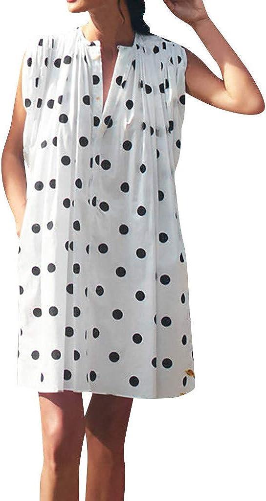 Drfoytg Womens Summer Sleeveless Polka Dot Dresses V Neck Straight Midi Dress with Pockets White