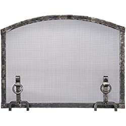 Forged Iron Arched Fireplace Screen with Ring Andiron Feet