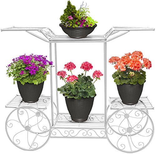 Home Garden Patio - Sorbus Garden Cart Stand & Flower Pot Plant Holder Display Rack, 6 Tiers, Parisian Style - Perfect for Home, Garden, Patio (White)