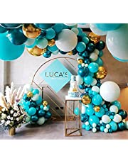Beaumode DIY Dark Teal and Tiffany Balloon Garland for 1st Communion Baby Shower Bridal shower Birthday Balloon Arch Celebration Party Backdrop Decoration (Tiffany and Teal)