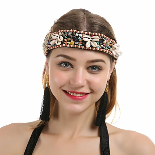 [JEANSWSB Bohemian Tribal Exotic Cleopatra Jewelry Shiny Beaded Belly Dance Cap Egyptian Costume] (Golden Belly Dancer Costumes)