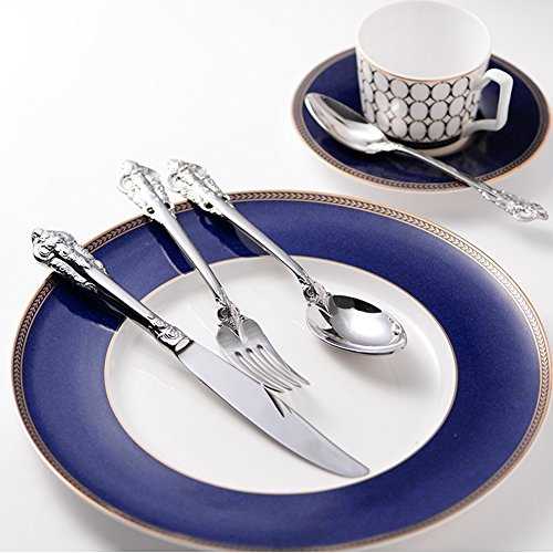 Elome Flatware Set, Stainless Steel Cutlery set, Vintage Antique Baroque Design Cutlery for Home Kitchen Restaurant Hotel Mirror Silver in Gift (Baroque Flatware)