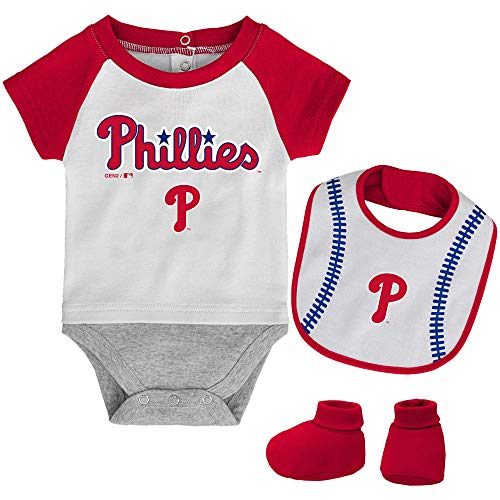 - MLB Newborn Baseball Kid Bodysuit, Bib & Booties Set - White (0/3 Months, Philadelphia Phillies)
