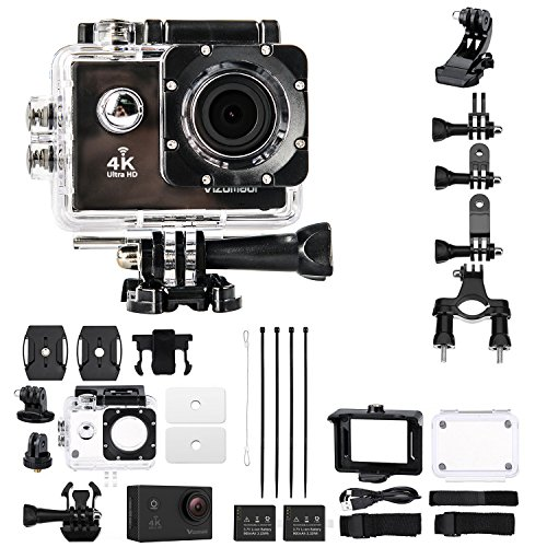 VIZOMAOI 4K Sports Action Camera, Ultra HD, WI-FI, Waterproof 2 Batteries and 20 Accessories Kits, 170 Degree Wide Angle Lens, 2'' LTPS Screen Camcorder, US Based Customer Service