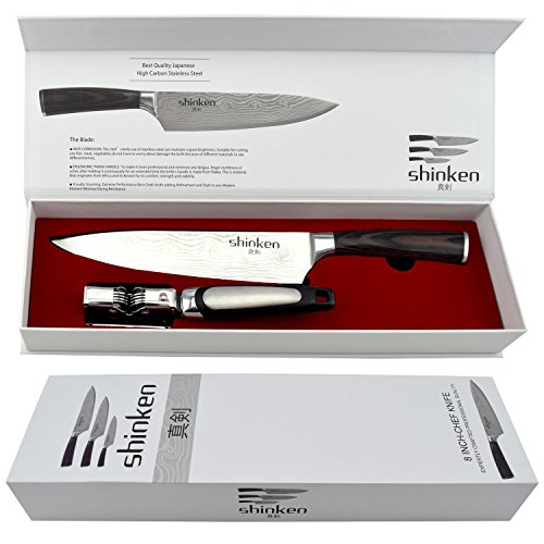 Professional Kitchen Chef's Knife 8 Inch,Stainless Steel High Carbon Sharp Blade,For Cutting Meat,Chopping, Slicing, Carving Food & More | BONUS:knife-sharpening tool,Perfect Gift Idea,By Shinken Guy Birthday Ideas