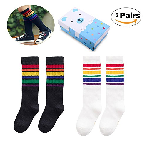 Creative Unisex Baby Girls Socks Cross Color Wearing 3 Pairs Comfortable Warm Boy Knee High Cotton Stockings For Infants Toddlers Kids. (B01-2pairs, 1-3 Years)
