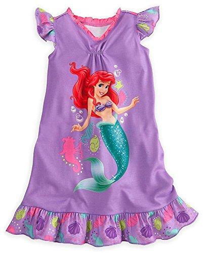 Disney Store Girls Princess Ariel Nightgown Nightshirt: Little Mermaid Sleepwear (7-8)
