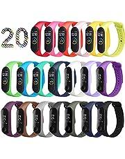 ivoler 20 Stuks Kleuren Armband voor Xiaomi Mi Band 3/4 Watch Strap, Silicone Polsband Vervanging Waterproof, Wearable, Breathable Watchbands Horlogebanden Compatibel met Xiaomi Mi Band 3/4