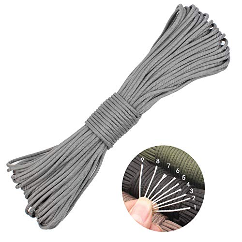 550 Paracord Lanyard Parachute Cord Mil-Spec Commercial Grade 550lb Type III Outdoor Paracord 100 Feet 9 Strand Camping Rope (Gray, 100ft)