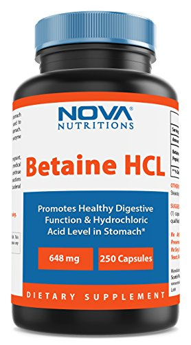 Minerals Betaine Hcl Nutrition - Nova Nutritions Betaine HCL with Pepsin Digestive Enzyme 648 mg 250 Capsules