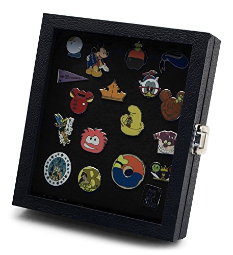 Hobbymaster Pin Collector's Compact Display Case for Disney, Hard Rock, Olympic, Political Campaign & Other Collectible pins, Holds 20-50 pins (Black)]()