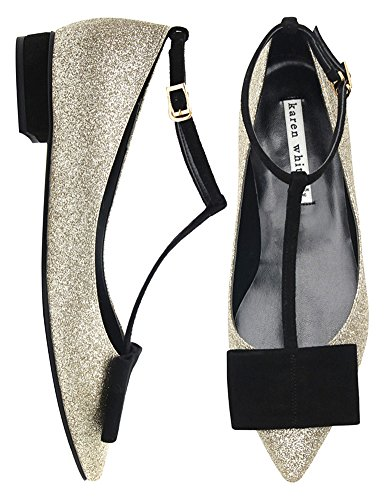 Karen Blanc Champagne Paillettes Or Mary Jane Chaussures Pour Femmes Or