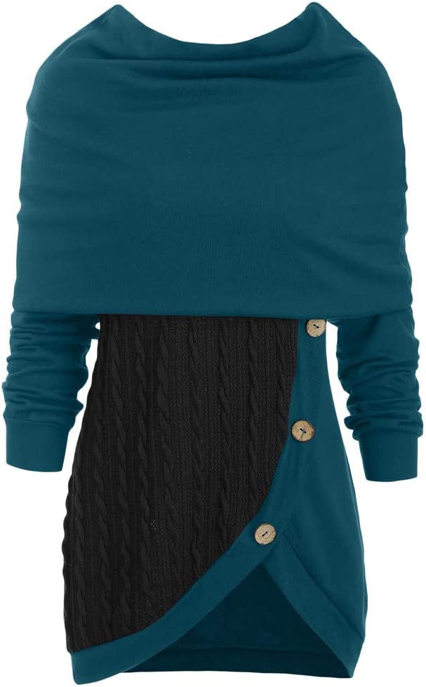 Lataw Plus Size Tops for Women Ladies Blouses O-Neck Long Sleeve Winter Warm Solid Botton Patchwork Asymmetric Sweater Sweatshirt