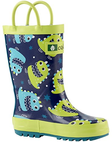Blue /& Green Trains OAKI Kids Rain Boots with Easy-On Handles 3Y US Big Kid