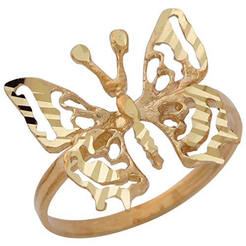 10k Yellow Gold Breathtaking Ladies Diamond Cut Filigree Butterfly - Ring Butterfly 10k