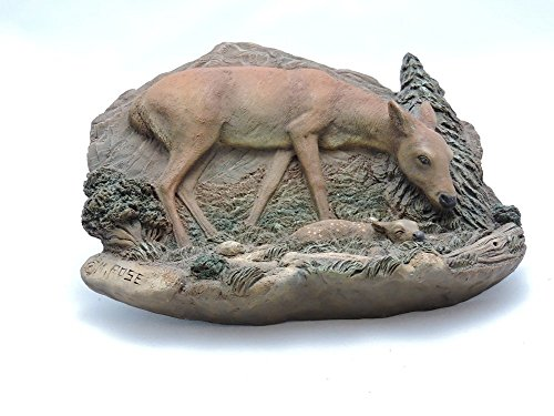 Neil Rose Deer and Fawn Sculpture Wall Plaque