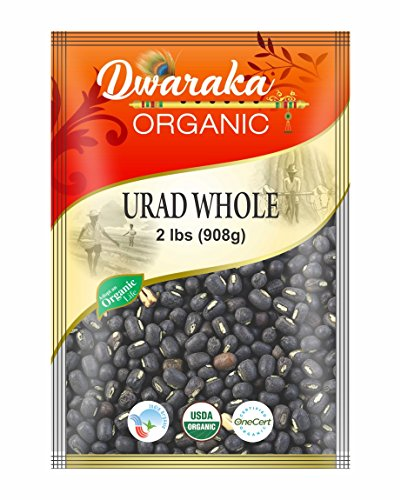 Dwaraka Organic Urad Whole Black Gram Whole Dal Lentil USDA Organic (2 lbs / 908 g) by Dwaraka Organic