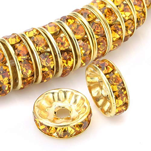 100pcs 6mm Top Quality A Rhinestone Crystal Rondelle Spacer Loose Round Beads (Topaz Yellow) 14K Gold Plated Brass Metal CF7-607