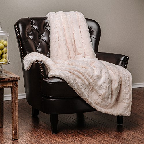 Chanasya Faux Fur Throw Blanket Super Soft Fuzzy Light