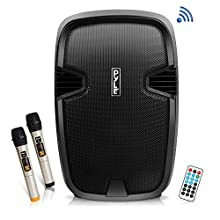 """Pyle 1000 Watt, 12"""" Bluetooth PA Speaker - Indoor / Outdoor Portable Sound System with (2) UHF Wireless Microphones, Rechargeable Battery, Audio Recording, USB/SD Readers, FM Radio (PPHP1235WMU)"""