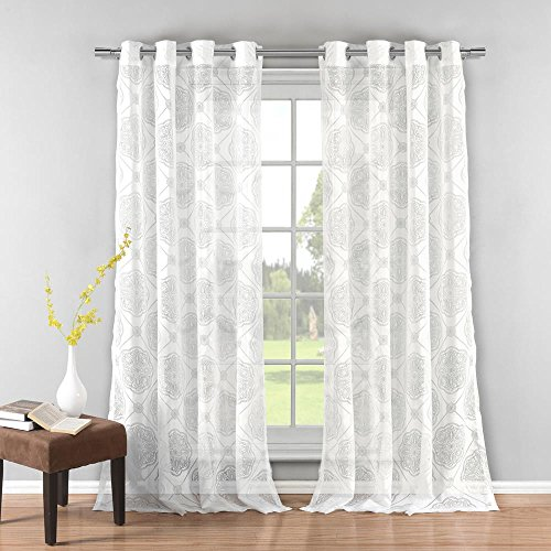 Duck River Textiles - Home Fashion Medallion Semi-Sheer Burnout Grommet Top Window Curtains for Living Room & Bedroom - Assorted Colors - Set of 2 Panels (38 X 84 Inch - White)