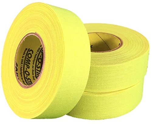 3 Rolls of Comp-O-Stik NEON YELLOW Hockey Lacrosse Bat Cloth Stick Tape ATHLETIC TAPE (3 Pack) Made In The U.S.A. 1'' X 20 Yards by Comp-O-Stik