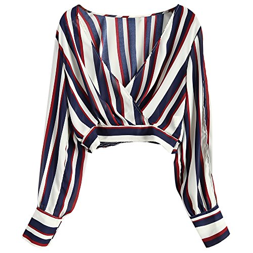 Leomodo Sexy Slit Sleeve Striped Cropped Surplice Blouse for Women