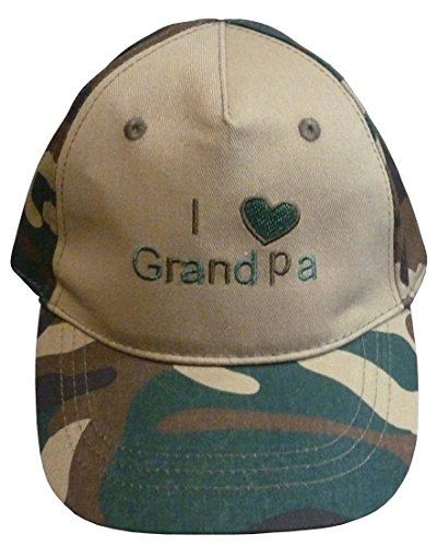 N'ice Caps Boys I Love Grandpa Embroidered Ball Cap (12-24 months, green camo print) (Embroidered Kids Ball Cap)