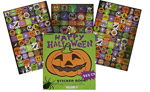 Halloween Sticker Book for Kids Arts & Crafts Scrapbooking - Pumpkin 325 Count 5 Sheets 1 Hologram 4 Printed