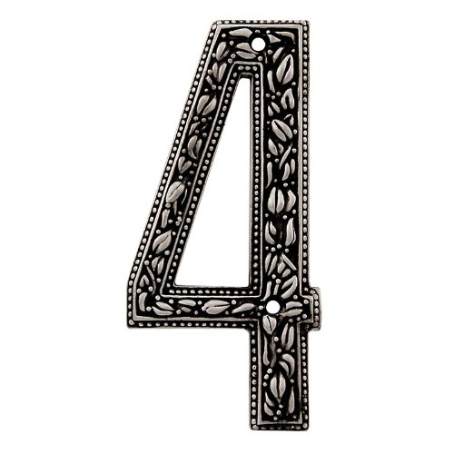 Vicenza Designs NU04 San Michele Venetian Style House Number 4, Antique Nickel