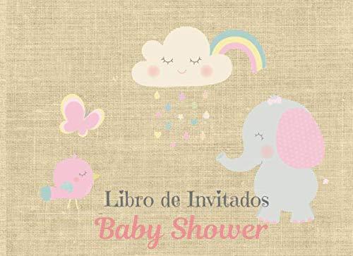 Libro de Invitados Baby Shower: Libro de firmas para Baby Shower Tema Elefante con Nubes Niña mensajes y autografos de los invitados a la fiesta  40 paginas a color  8.25 x 6 in (Spanish Edition)