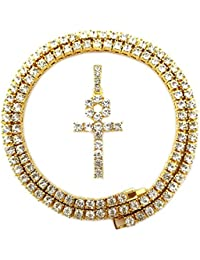 Mens Iced Out Hip Hop Gold Artificial Diamond Ankh Cross...