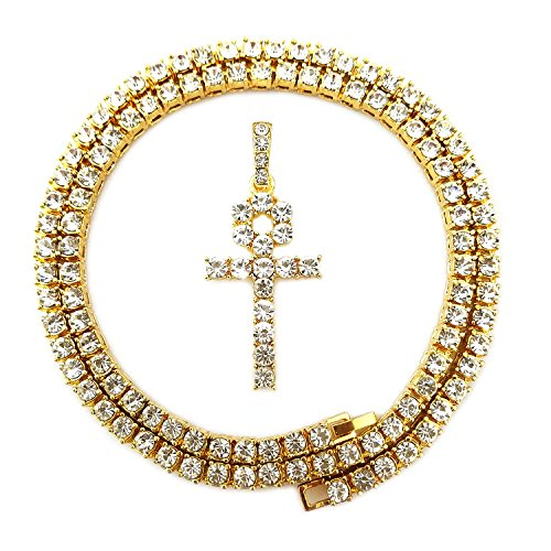 HH Bling Empire Mens Iced Out Hip Hop Gold Artificial Diamond Ankh Cross cz Tennis Chain 22 Inch (Tennis Chain & Ankh (Cross Gold Bling)
