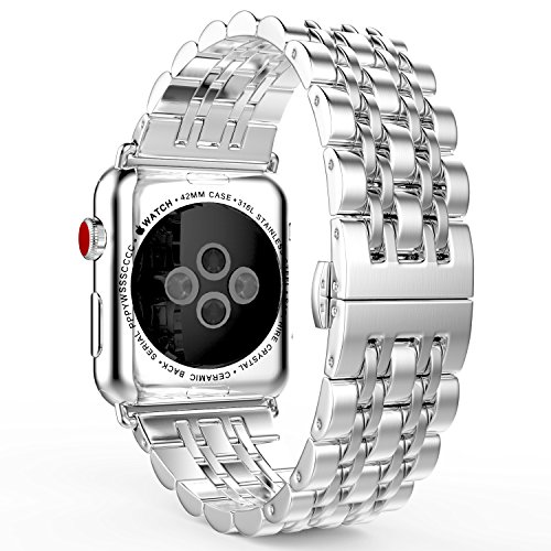MoKo Compatible Band Replacement for Apple Watch 42mm 44mm Series 4/3/2/1, Stainless Steel Metal Replacement Smart Watch Strap Bracelet - Silver (Not Fit iWatch 38mm 40mm)
