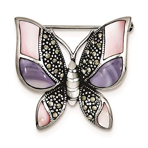 (Sterling Silver Marcasite Mother of Pearl Butterfly Pin Brooch)