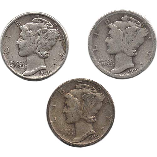 Rare Foreign Coins - 3 Silver Mercury Dimes. Dated 1916-1945. Rare and Old Coins.
