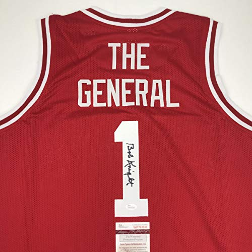 Autographed/Signed Bobby Bob Knight The General Indiana Hoosiers Red Basketball Jersey JSA COA