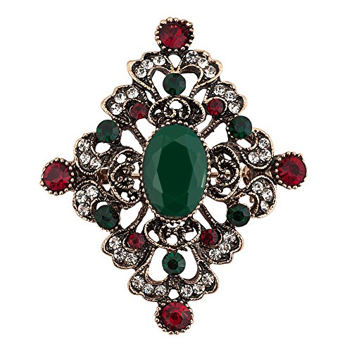 JewelryHouse Alloy Vintage Brooches and Pins Imitation Crystal Brooch pin for women wedding (Green) ()