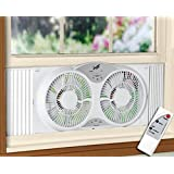 """Portable Twin 9"""" Reversible Window Fan with Remote Control"""